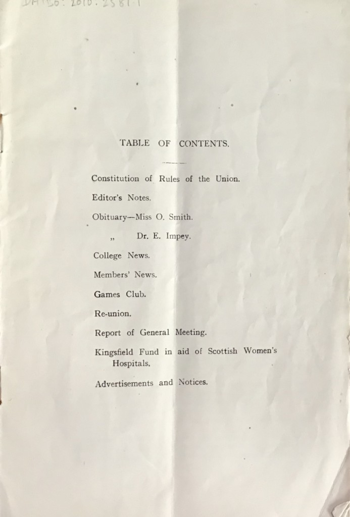 BOU mag 1917 contents