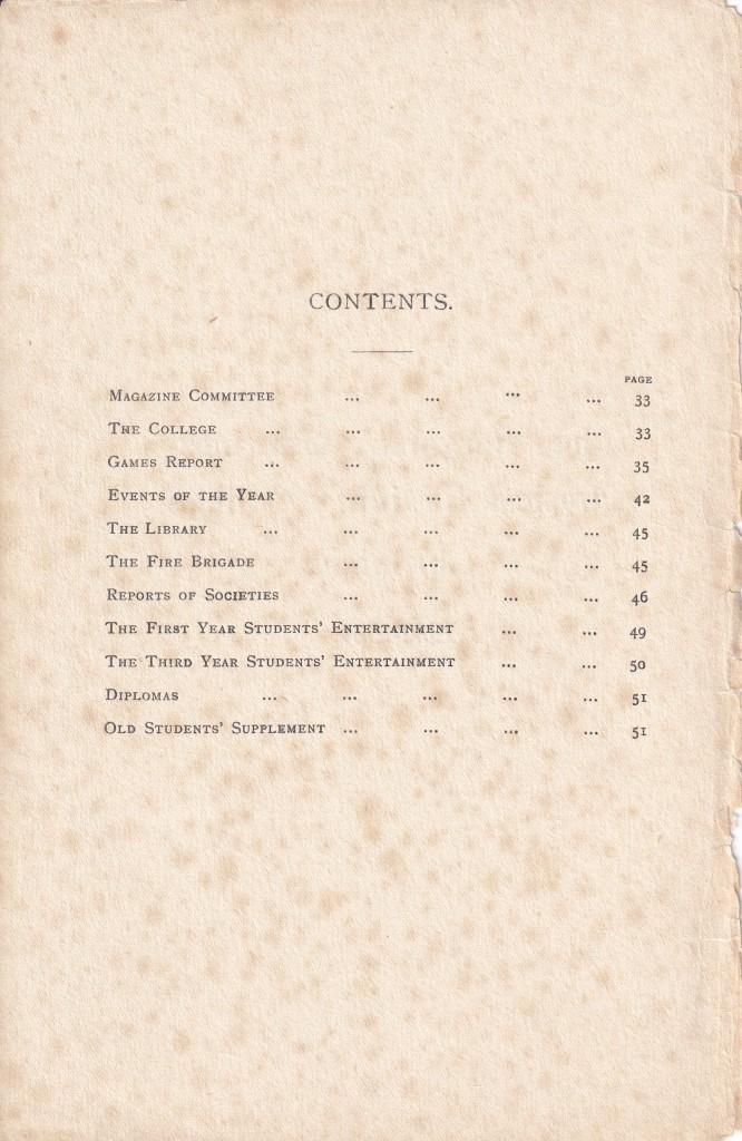 BOPTC Chronicle 1930-31 Contents