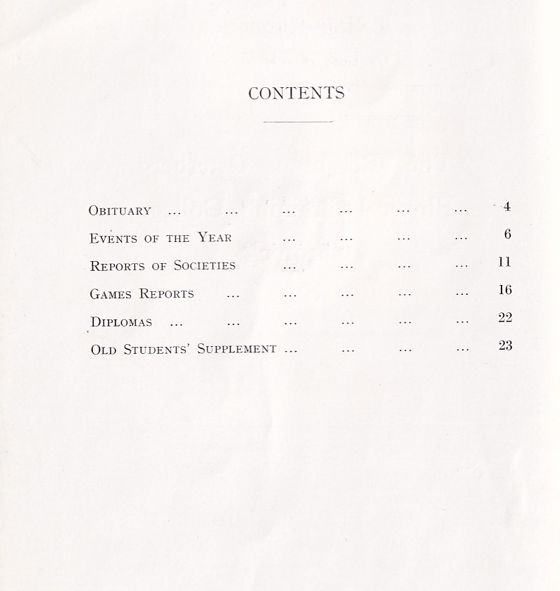 BOPTC Chronicle 1933 Contents