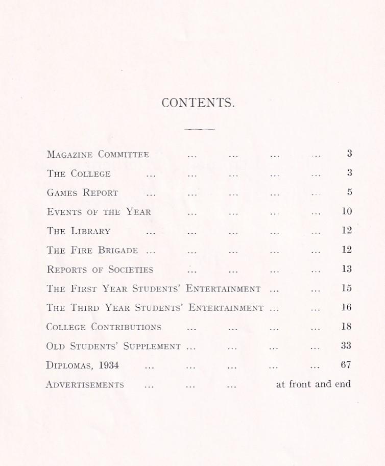 BOPTC Magazine 1934 Contents