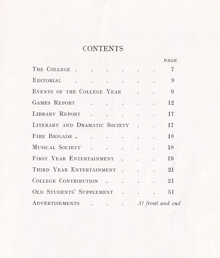 BOPTC Magazine 1937 Contents