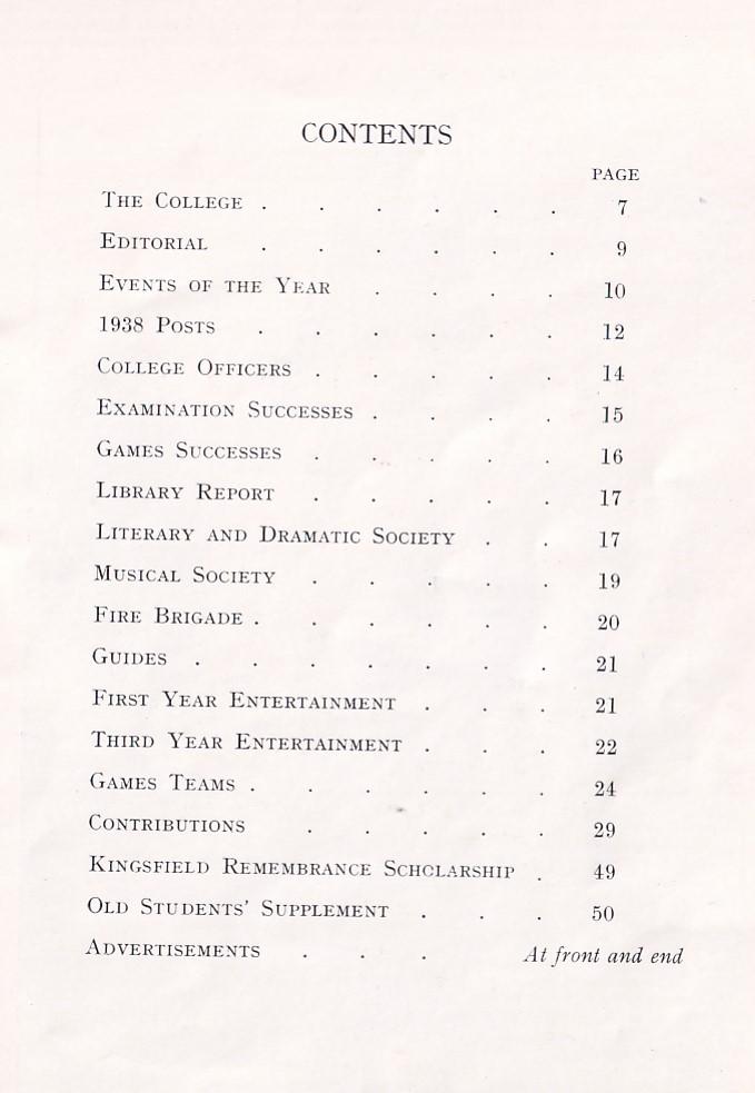 BOPTC Magazine 1938 Contents