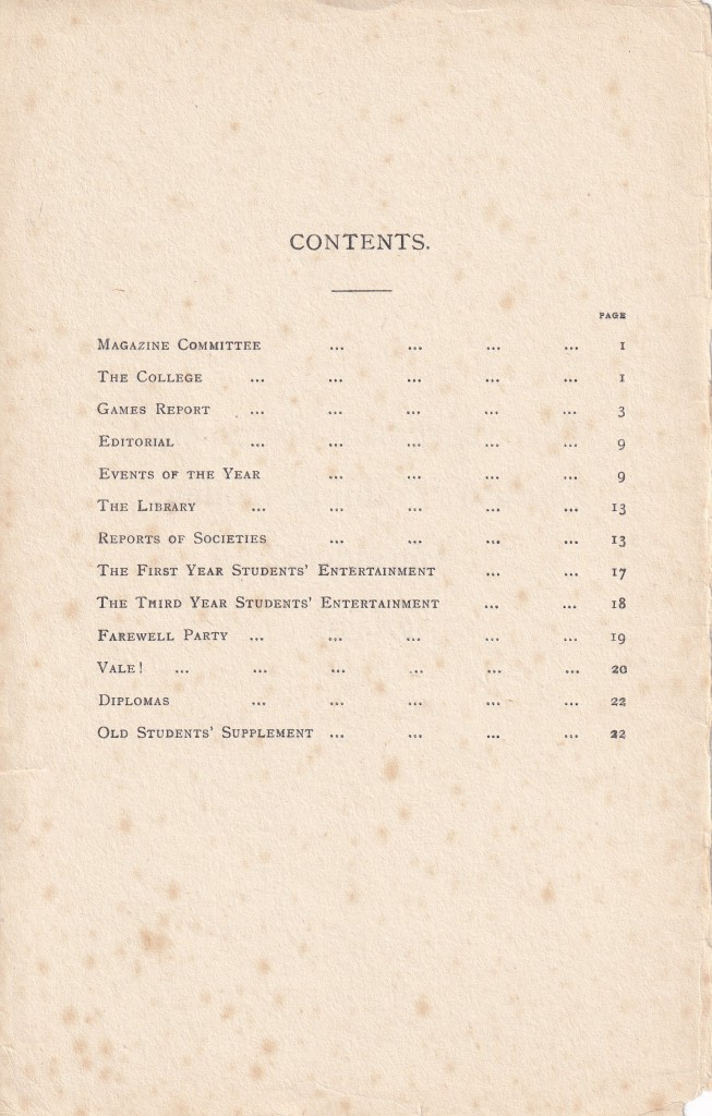 BOPTIC Chronicle 1929-30 Contents