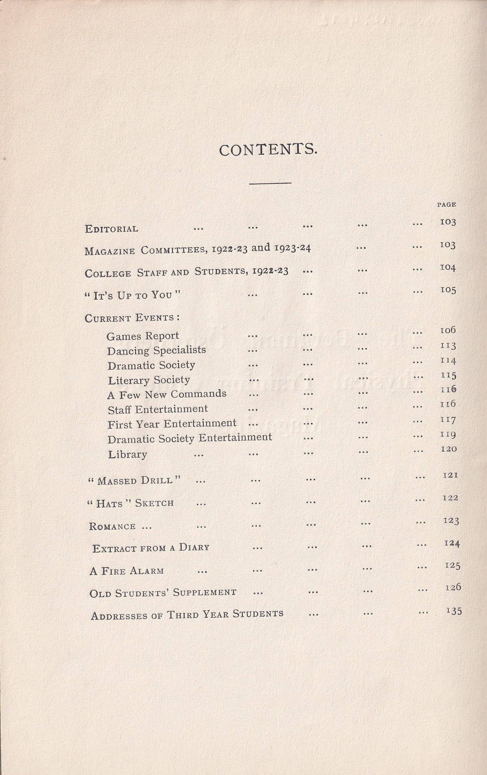 BOPTC 1923 Contents