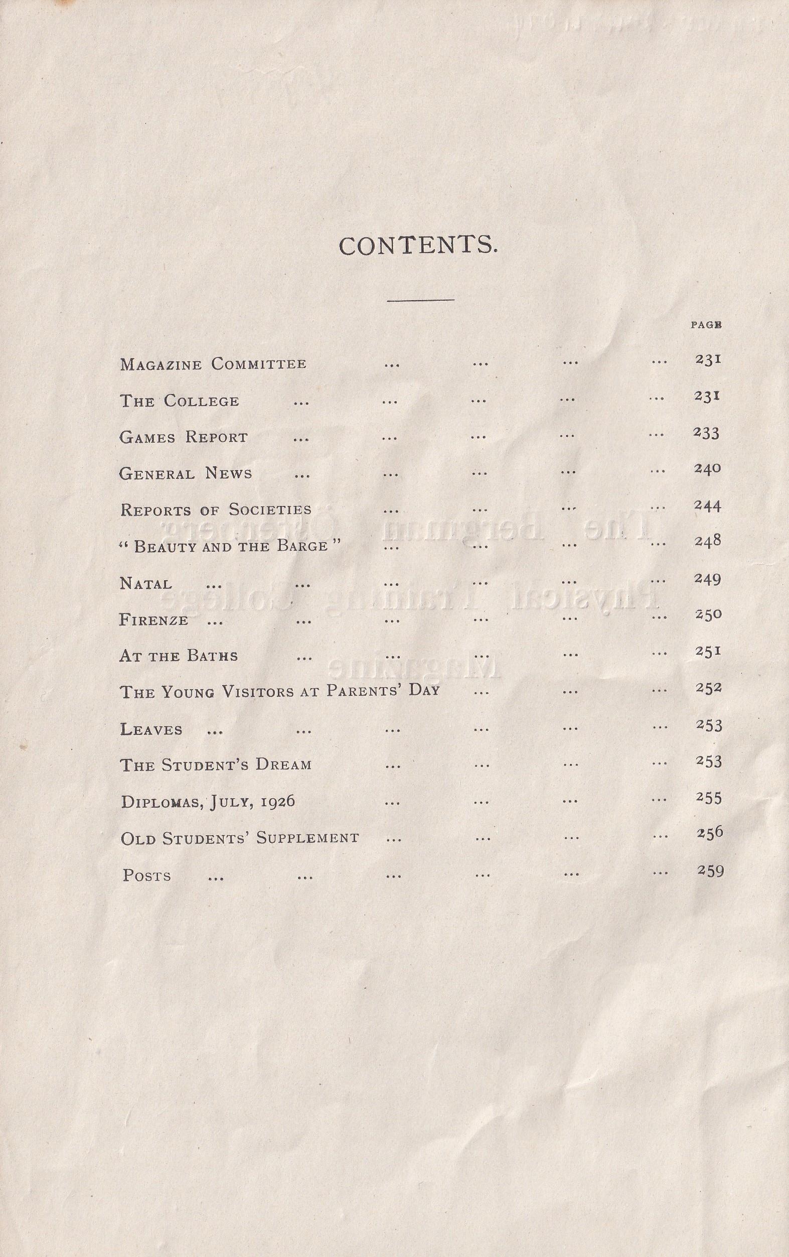 BOPTC 1926 Contents