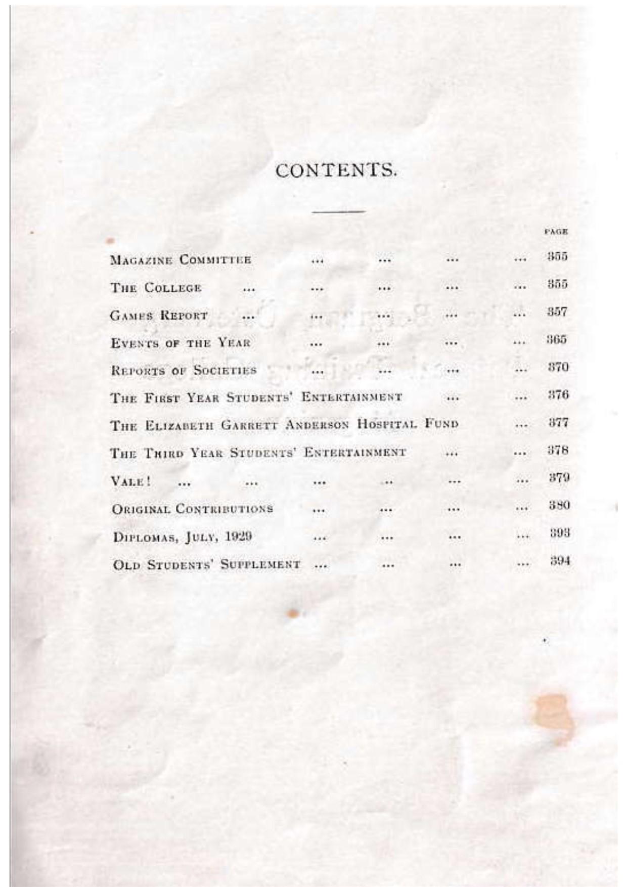 BOPTC 1929 Contents